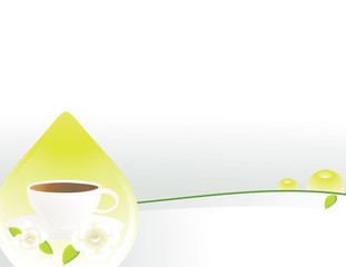 Tea cup drop white gray background