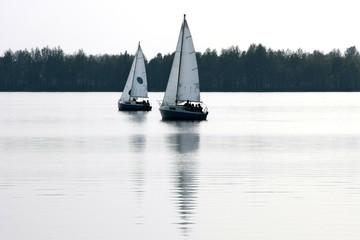 Sailboat sailing on the lake
