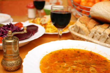 wine delicious soup food and grinder lunch