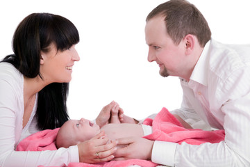 Happy parents with newborn baby
