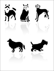 Black vector dogs