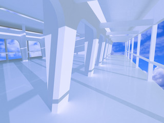 3d large blue hall with galleries