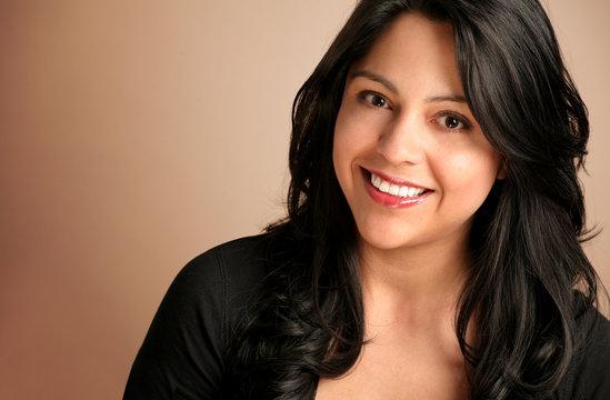 Happy Hispanic Woman Smiling