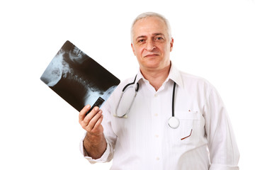 Friendly mature doctor with the human neck x-ray