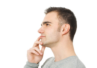 man thinking and looking at one side