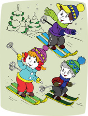children by skis