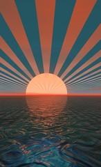 coucher de soleil rayonnant