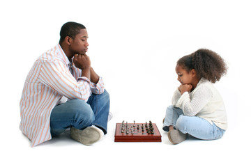 Wall Mural - Father Daughter Chess Match