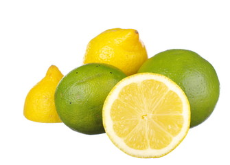 Fresh Lime and Lemon on white background
