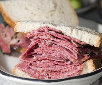 pastrami sandwich rye bread kosher delicatessen