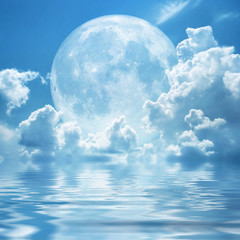 white clouds full moon
