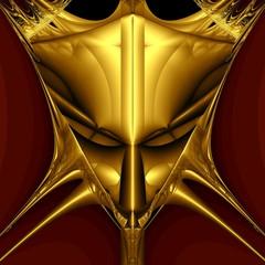 Golden demon mask on black background. Computer generated image