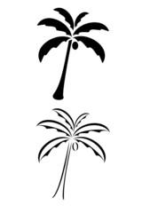 A black tribal palm tree tattoo