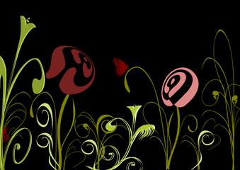 Blumenwiese in Schwarz