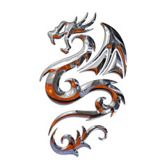 Ilustracion de un Dragon Mitico en Cromo y Fuego
