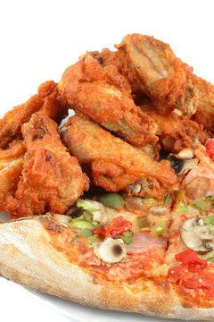 pizza and chicken wings