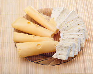Plate with tasty cheeses