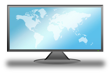 Flat LCD TV-Liquid Crystal Display with the world map
