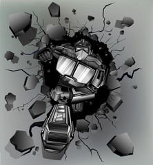 robot broken wall