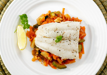 Boiled fish and vegetables