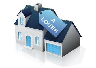 Pavillon bourgeois et étiquette à louer (reflet)