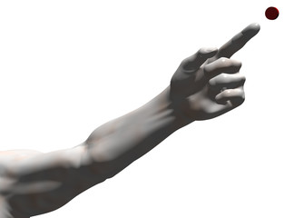 Extended arm with pointing hand