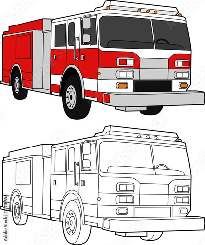 vector drawing of a fire truck color and lines stock image and