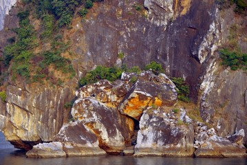 The rocks in Halong bay in Vietnam