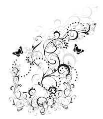 arabesque floral noir et blanc papillons
