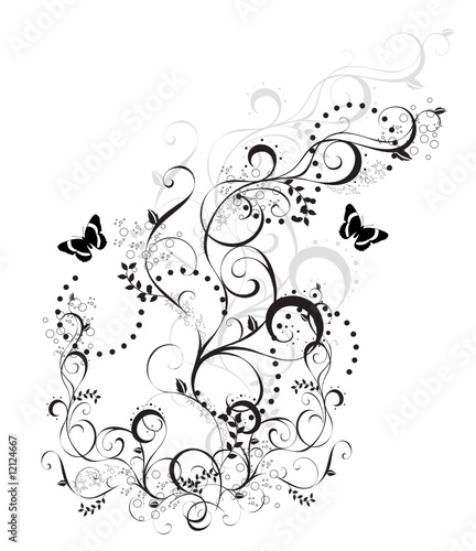 arabesque floral noir et blanc papillons fichier vectoriel libre de droits sur la banque d. Black Bedroom Furniture Sets. Home Design Ideas