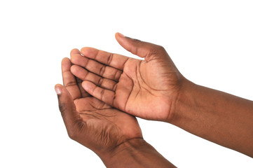 Begging African hands