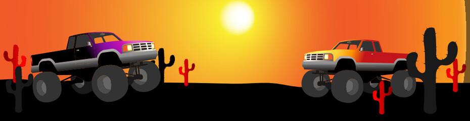 monster truck desert banner