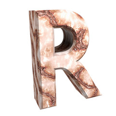 3d letter A in marble