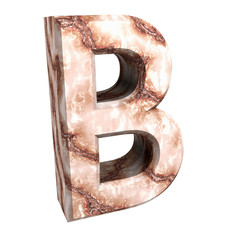 3d letter B in marble