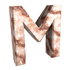 3d letter M in marble