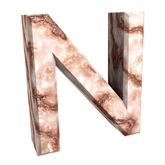 3d letter N in marble