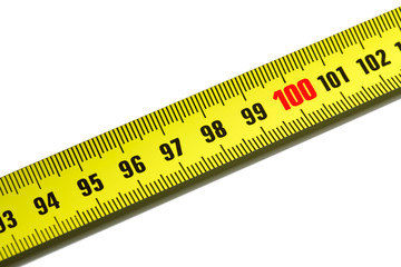 One hundred on measuring tape