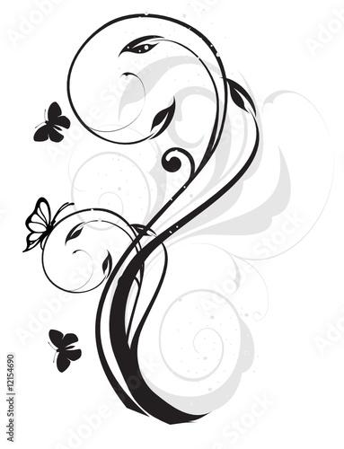 u0026quot arabesque floral noir et gris papillons u0026quot  fichier