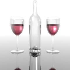 wineglass and bottles