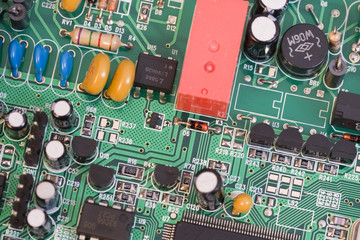 electronic board with components
