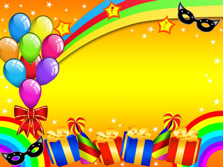 Poster Regenboog Colourful Carnival party card