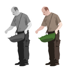 illustration of man sowing, two color versions