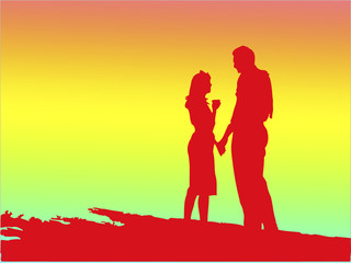 red silhouette of romantic young couple