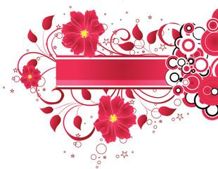 banniere floral rose et coeur jaune