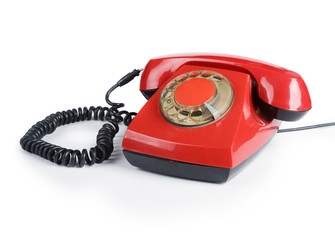 An old red phone