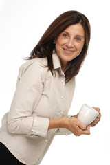 Woman drinking a warm beverage