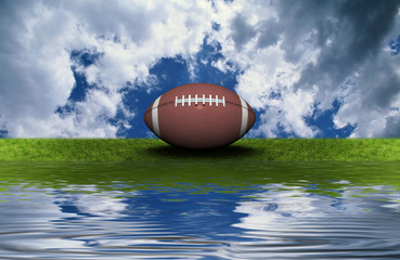 football on the green grass with sky background