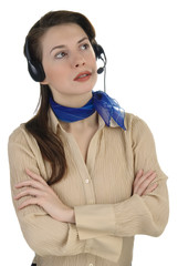 Young pretty girl speaking with headset.