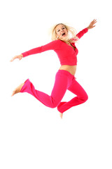 jumping sport girl isolated on white