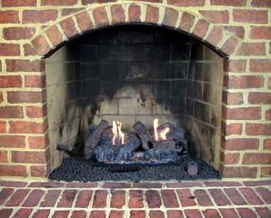 Brick gas fireplace